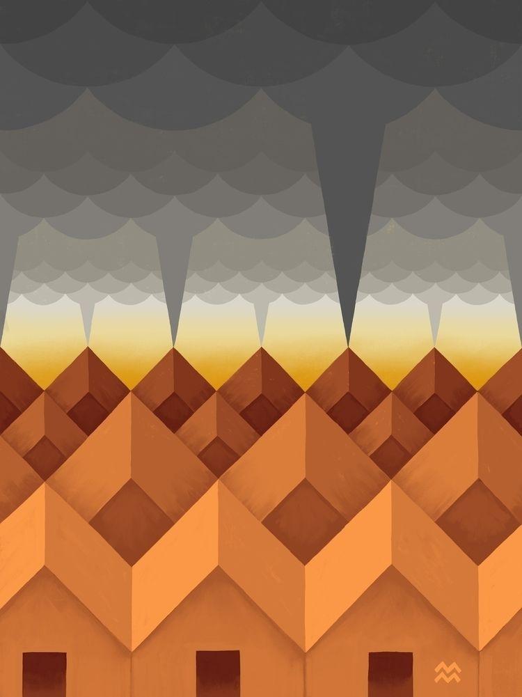 Tornado + Houses friends midwes - miriamdraws   ello