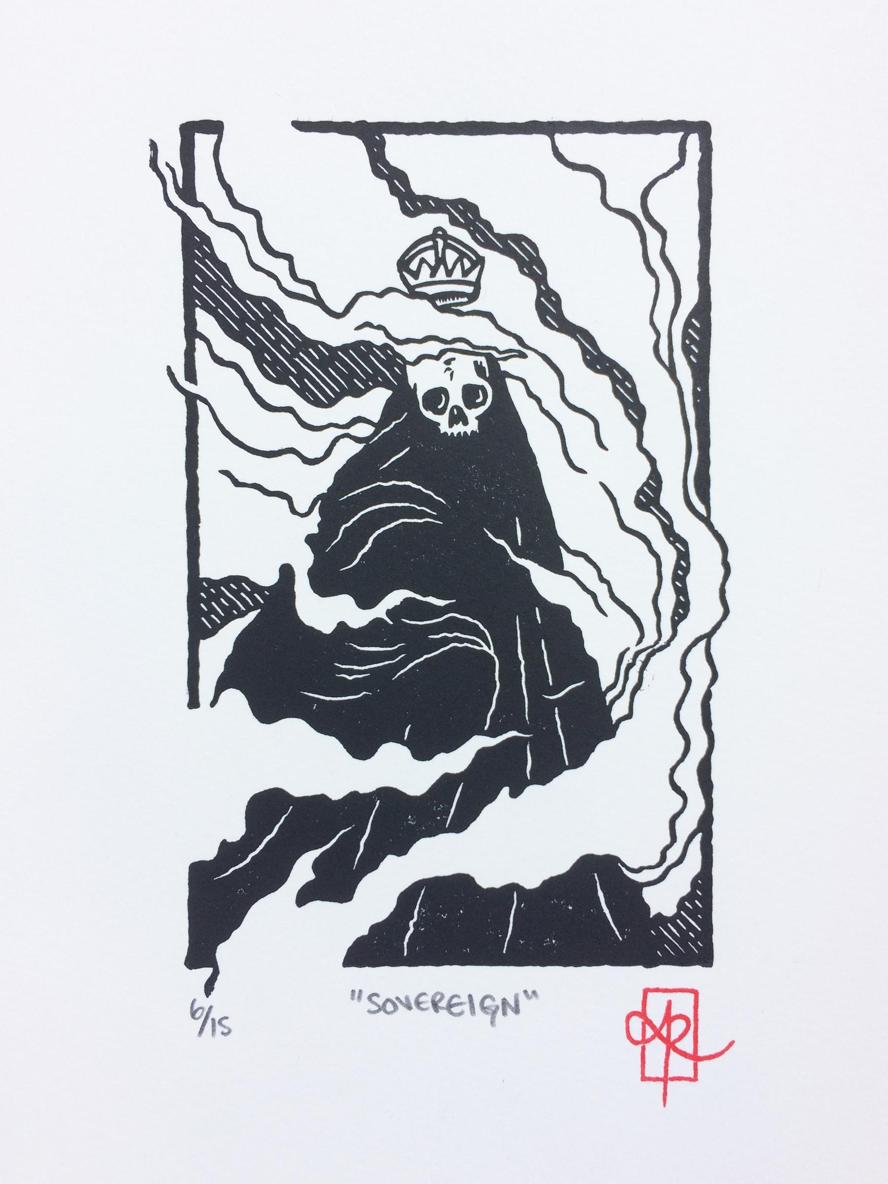 "Sovereign"", 1-colour linocut, 8 - monografik | ello"