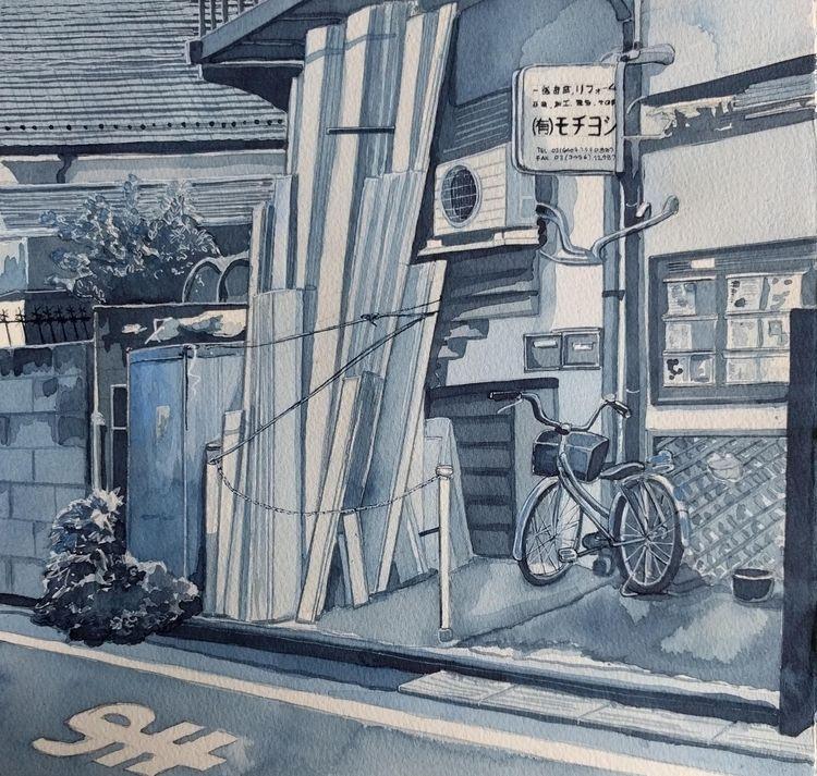 Tokyo Corner - watercolour, lovetokyo - bluebearvendingco | ello