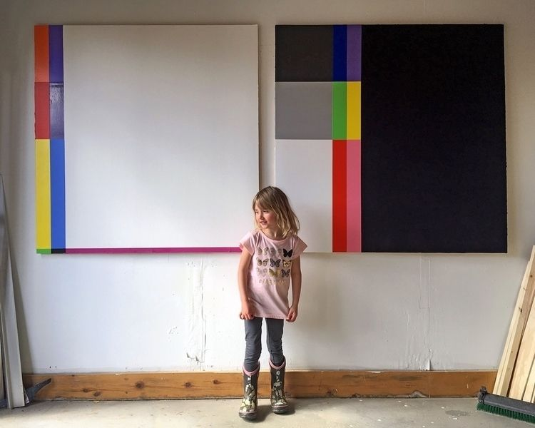 Daisy studio 4x4ft. paintings.  - andrew_faris | ello