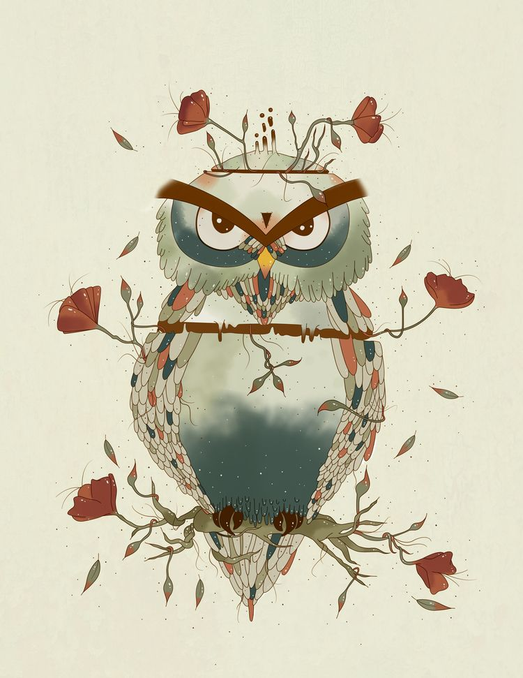 OWL - bird, illustration, petunia - yosoypetunia | ello