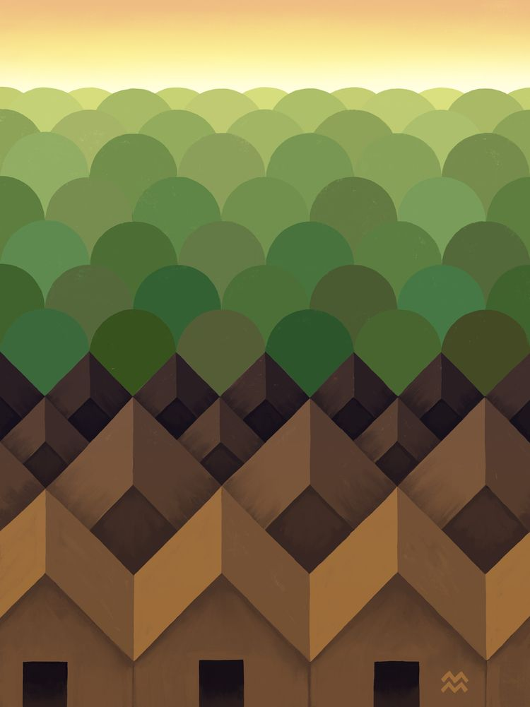 Tree + Houses - miriamdraws, miriammartincic - miriamdraws | ello