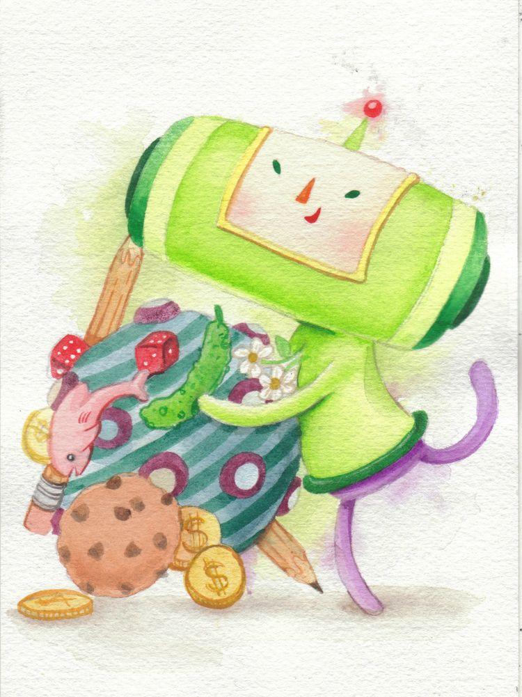 Katamari! watercolor Prince Kat - smushbox   ello