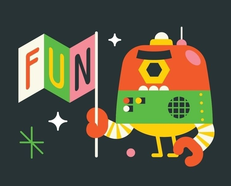 fun, robot, illustration, postcard - louloutummie | ello