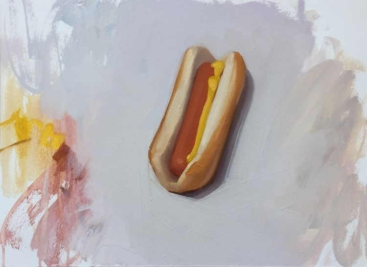 Hot Dog 1, oil paper, 12x16, wa - feliciaforte | ello