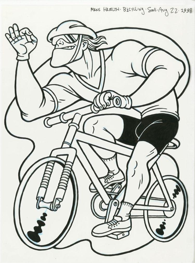 Bicyclist, illo HEALTH, 8/22/98 - dannyhellman   ello