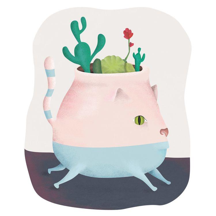 Cat-vase - elloart, elloillustration - foxnaif | ello
