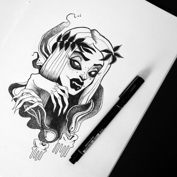 Black white linework/dotwork - black - nicole996 | ello
