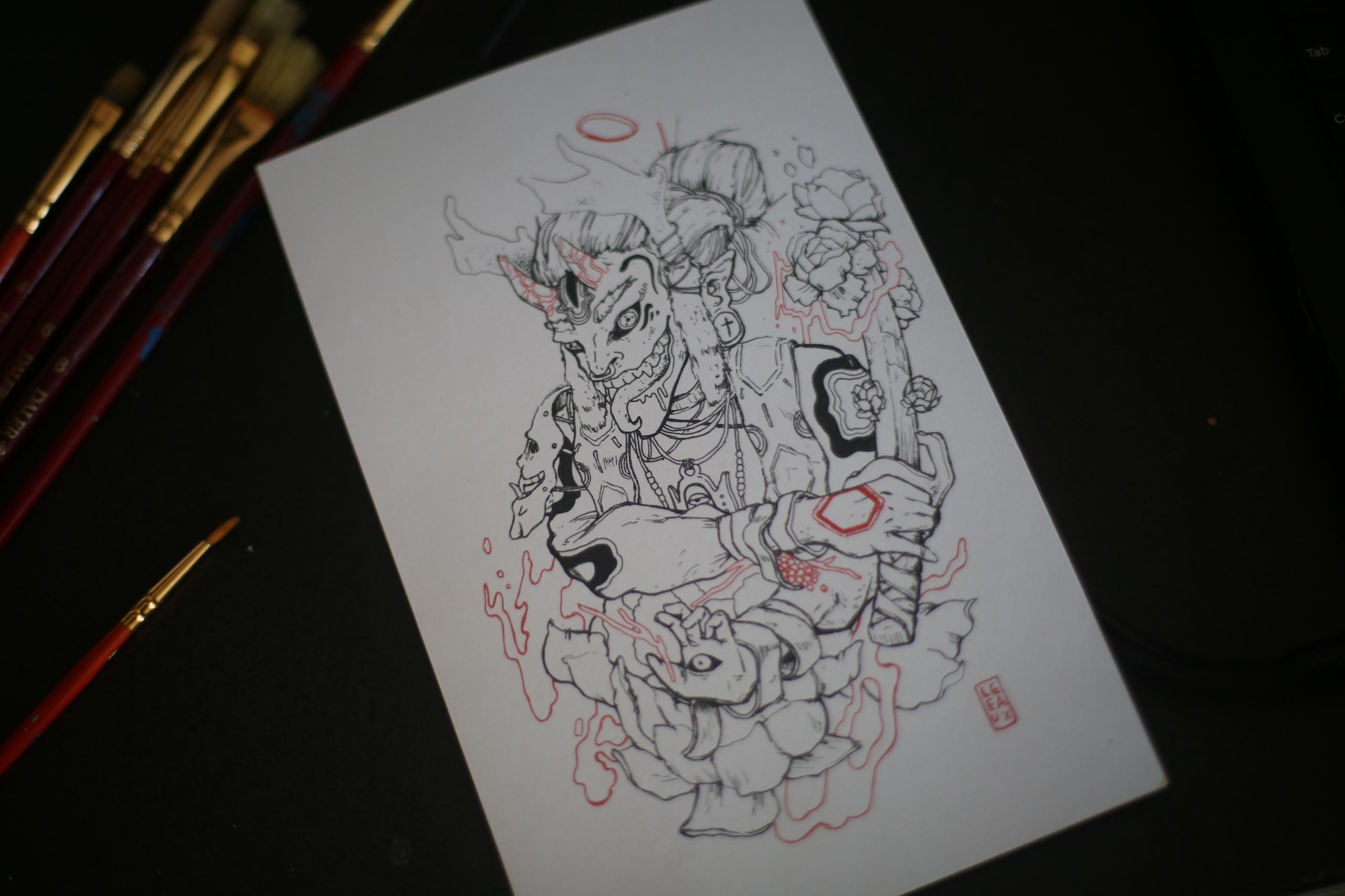 LOTUS ONI REZ illustration sale - leeaux | ello