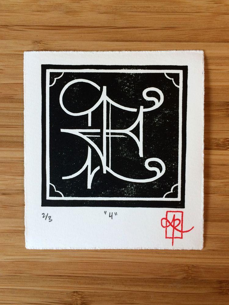 """4"""", 1-colour linocut, 4 4.5, 20 - monografik   ello"""