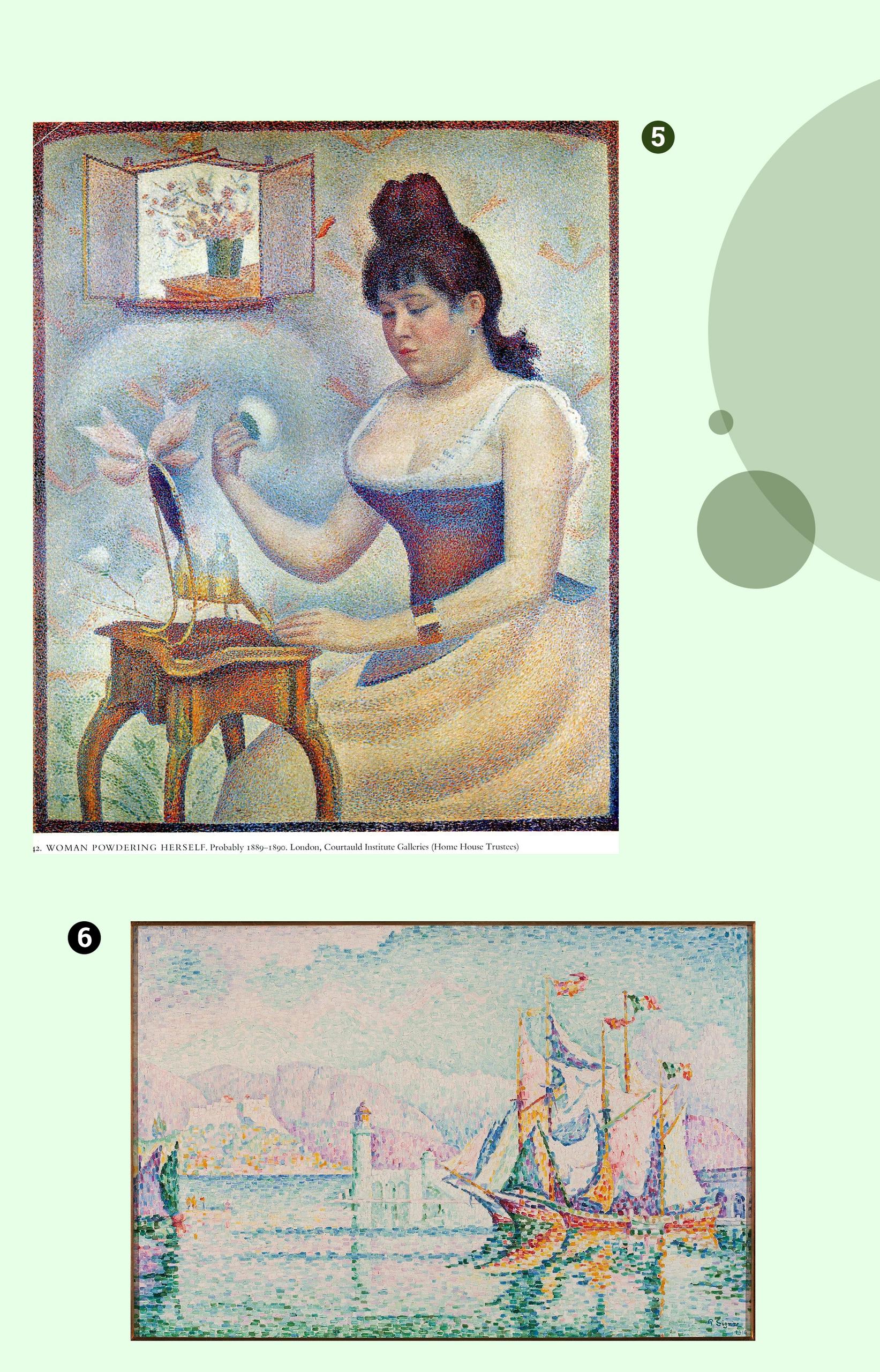 Obraz przedstawia dwa zdjęcia dzieł znanych artystów na zielonym tle.