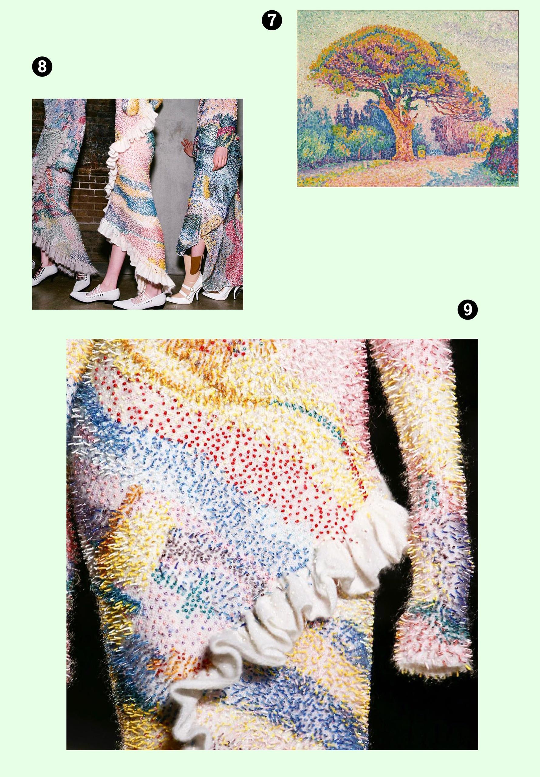 Obraz przedstawia trzy zdjęcia na zielonym tle. Widzimy fragmenty ubrań i obraz znanego artysty.