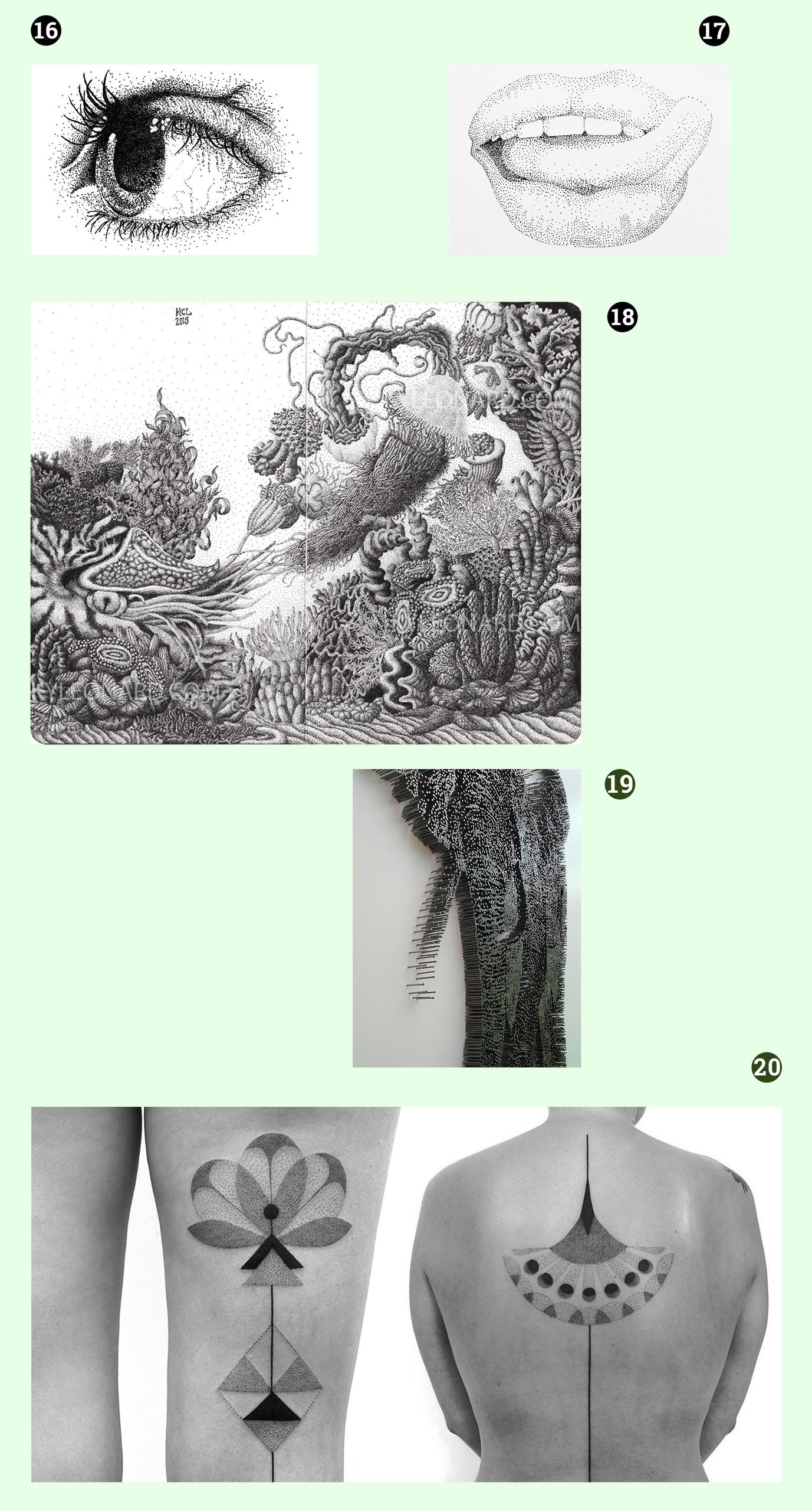 Obraz przedstawia pięć czarno-białych fotografii. Widzimy rysunki oka, ust, fragment rzeźby i tatuaż.