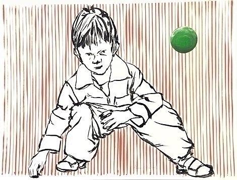 De groen bal Acryl op papier 58 - ben-peeters | ello