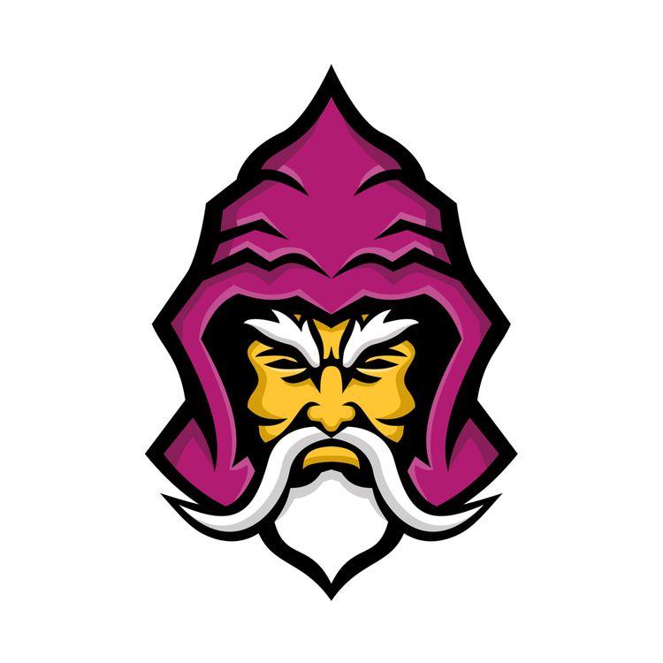 Wizard Head Front Mascot - illustration - patrimonio   ello