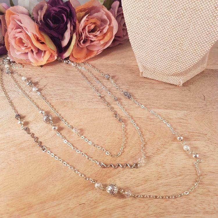 Extra long silver wrap necklace - yiskadesigns | ello