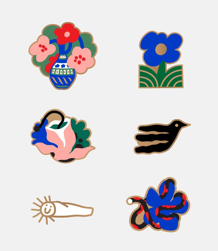 Flowers grew sketchbook, pins.  - juanbar | ello