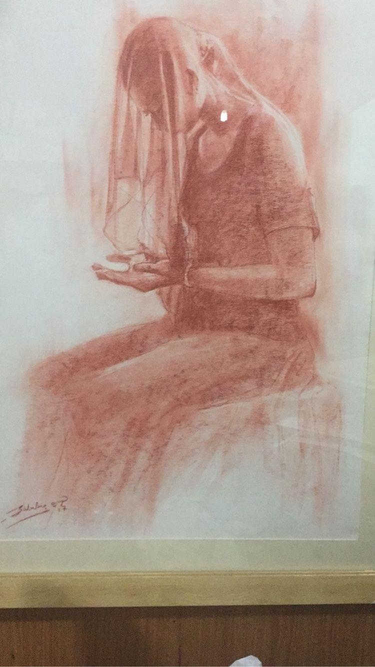 Conté drawing maiden Africa. qu - articulture | ello