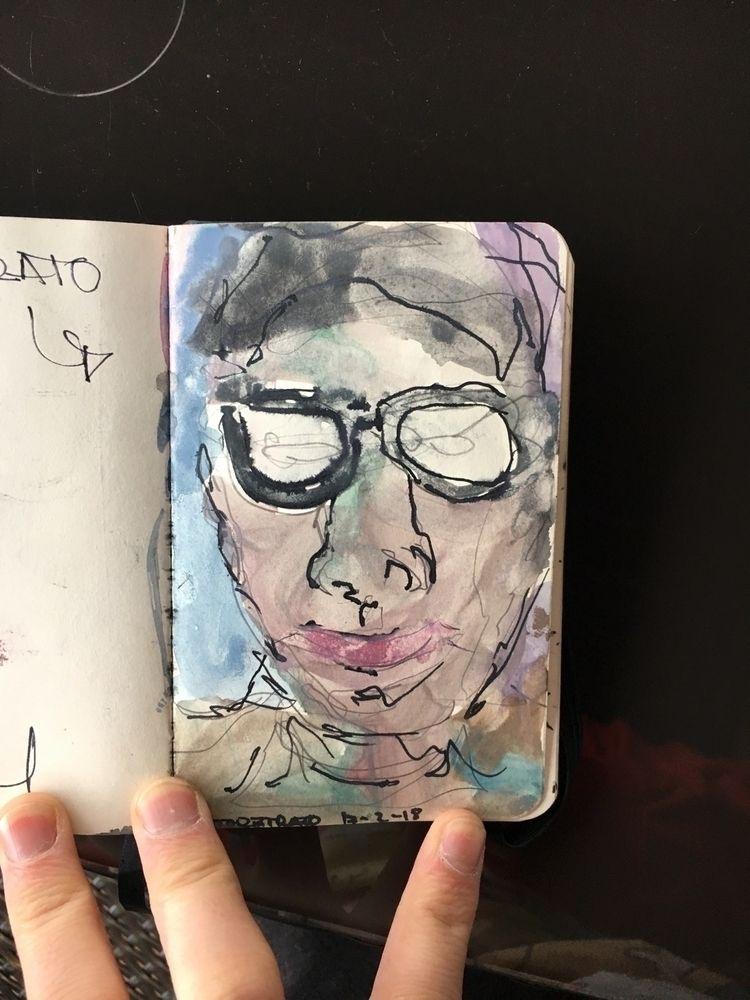 Selfportrait ink watercolor din - jaimemv | ello