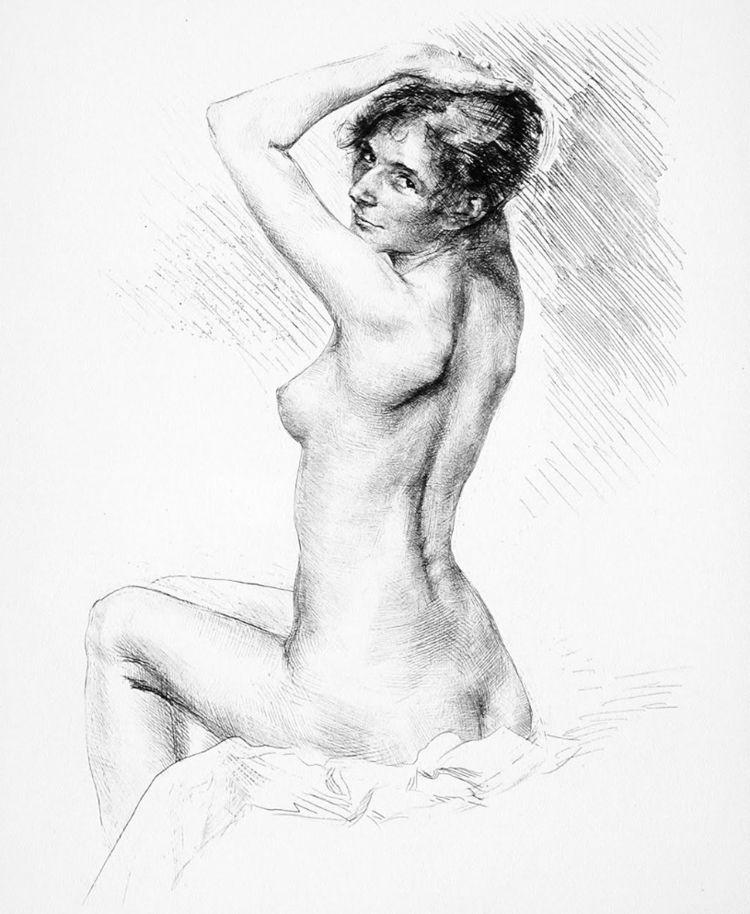 Karl Köpping _____ Seated nude  - simplecru | ello