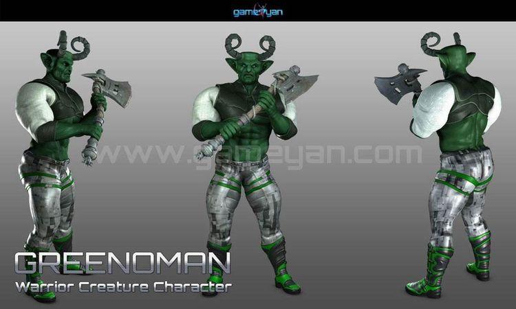 3D Greenoman Warrior Character  - gameyan   ello