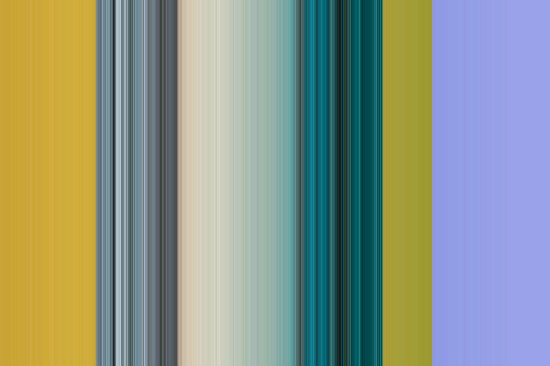 Obraz przedstawia pionowe paseczki w kolorze fioletowym, żółtym i wielokolorowym.