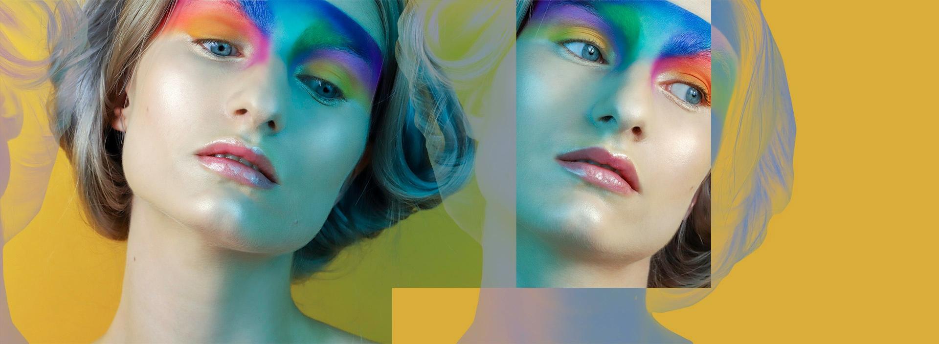 Obraz przedstawia dwie twarze kobiety w kolorowym makijażu. Portrety przeplatane są graficznymi elementami. Całość na żółtym tle.