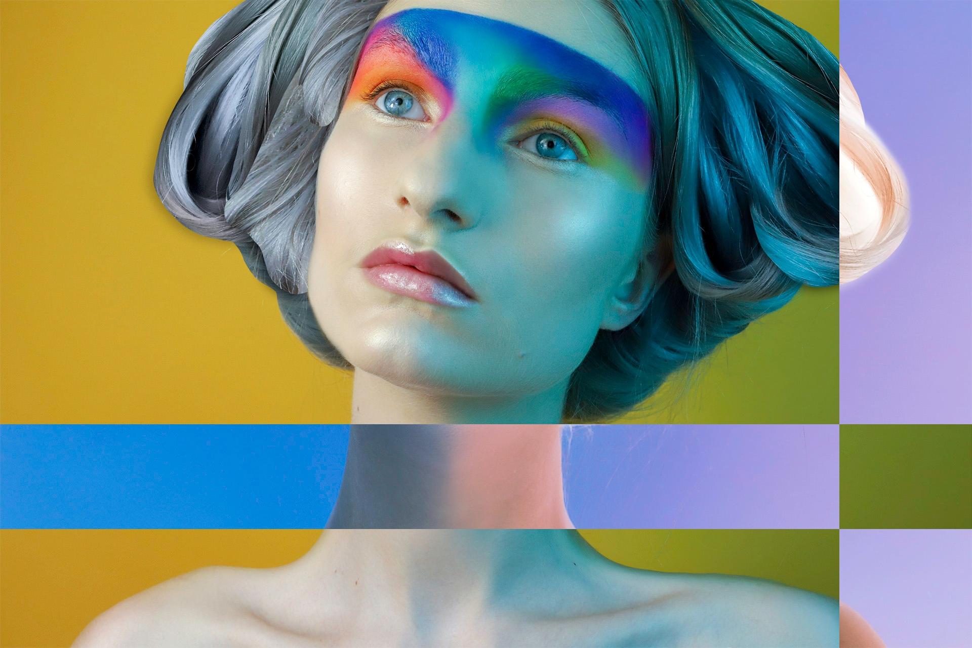 Zdjęcie przedstawia popiersie kobiety w kolorowym makijażu z siwymi włosami. Dookoła kolorowe prostokąty.