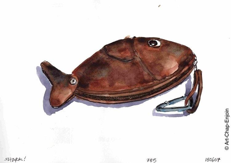 755 - Shark! sketch Doodlewash  - artchapenjoin | ello