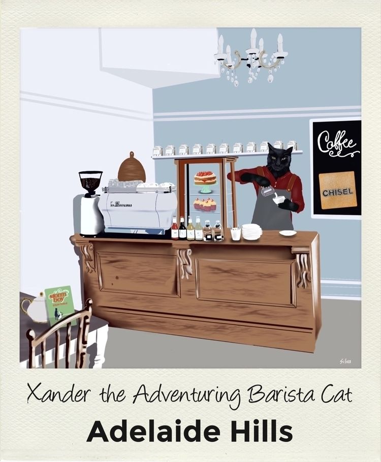 Xander Adventuring Barista Cat  - nightrav3n | ello