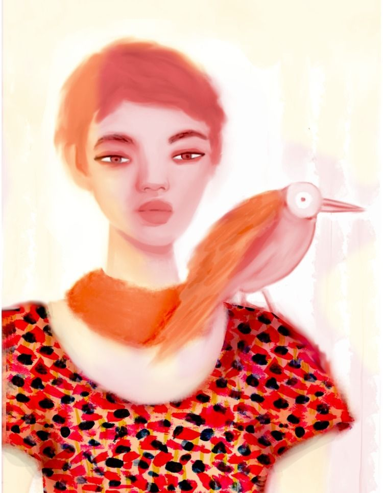 Girls Birds. Digital painting - catherinagm | ello