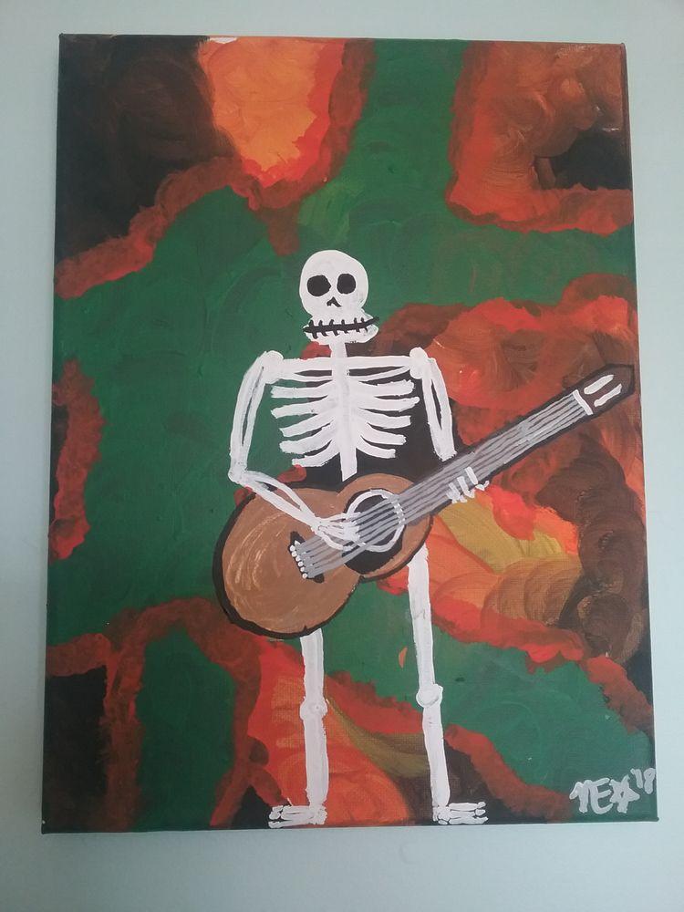 9x12 - acrylic, gallerywrapped, Skeleton - ohboyflamingsoy | ello