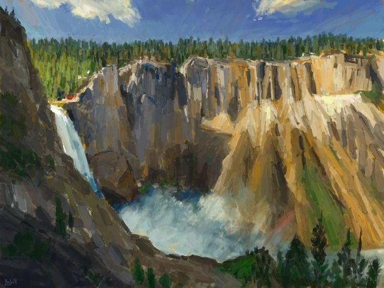 Yellowstone Falls Photo study - art - mujkicharis | ello