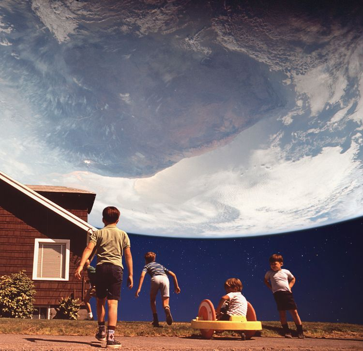 Planet Suburbia. Digital Collag - keysgoclick | ello