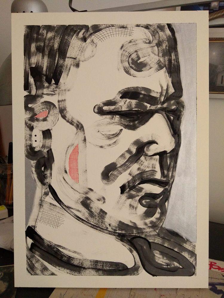 Golem. Oil + Ink Paper - contemporaryfigurative - pastusiak | ello