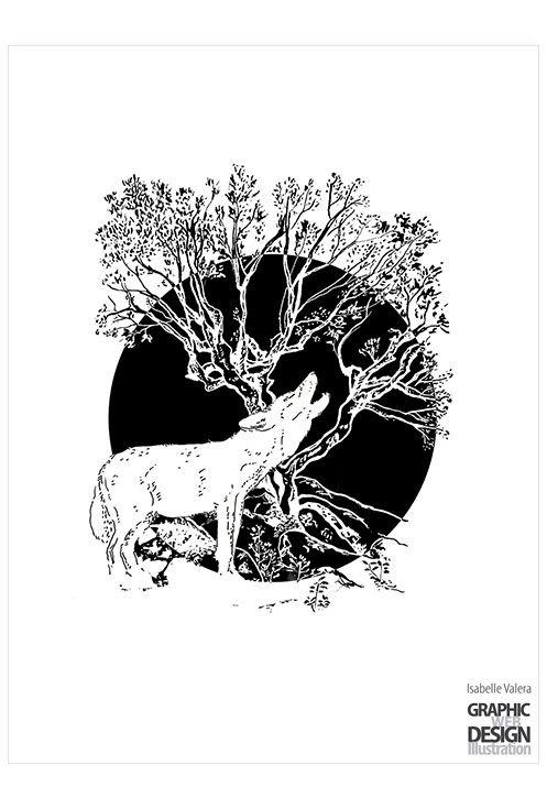 illustration, ink, wolf, howling - ivalera | ello