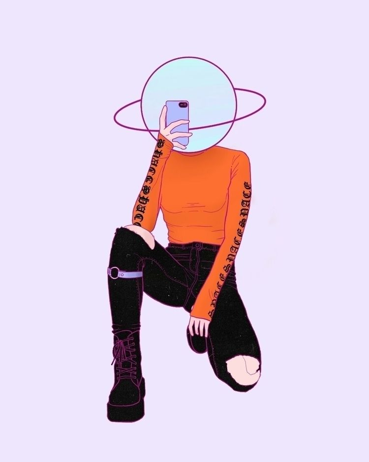 Space girl - space, purple, illustration - haskan | ello