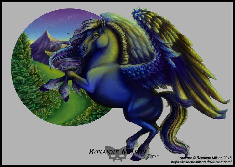 Pegasus Artwork Roxanne Milson  - roxannemilsonart | ello
