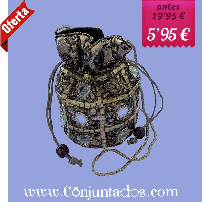 Bolso limosnera beige metalizad - conjuntados_com | ello