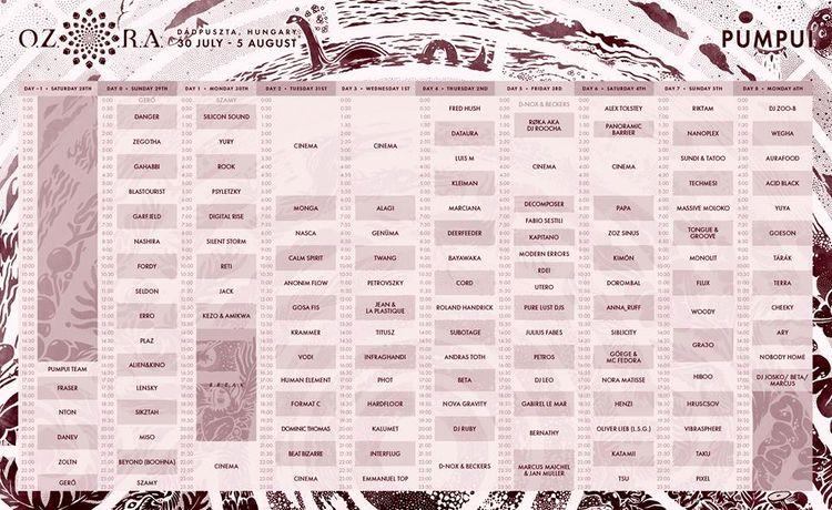 complete timetable Ozora Festiv - bondziolino   ello