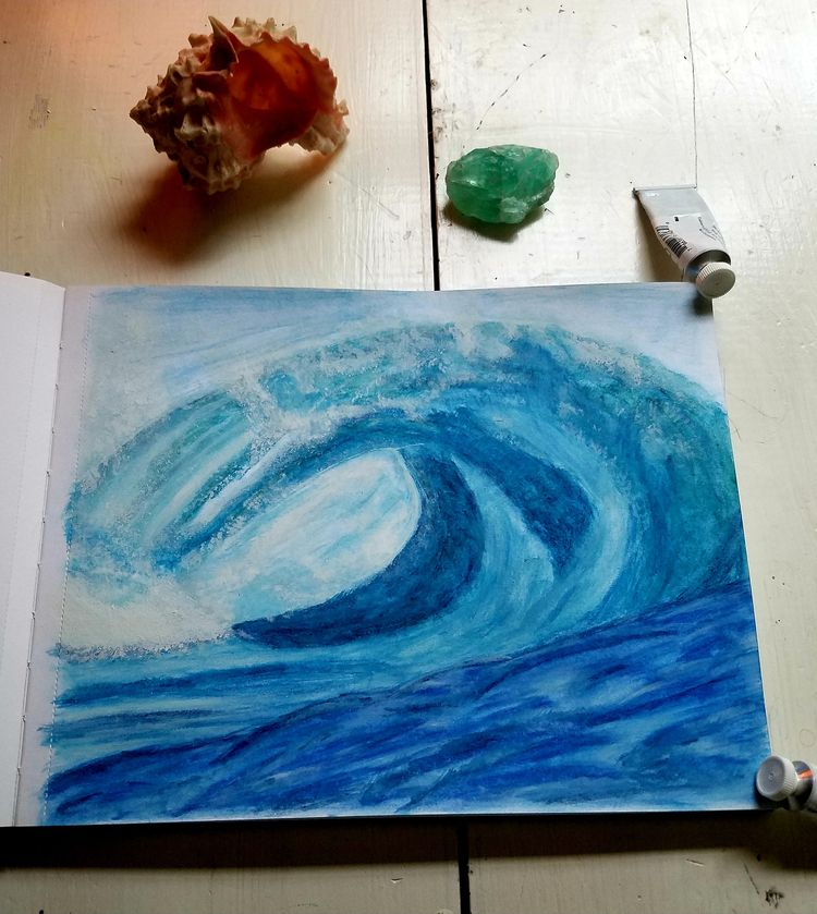 Ocean Wave. Mixed Media - painting - natureisfree | ello