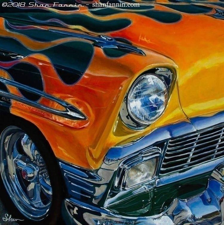 PAINTING: 1956 Flaming Chevrole - shanfannin | ello