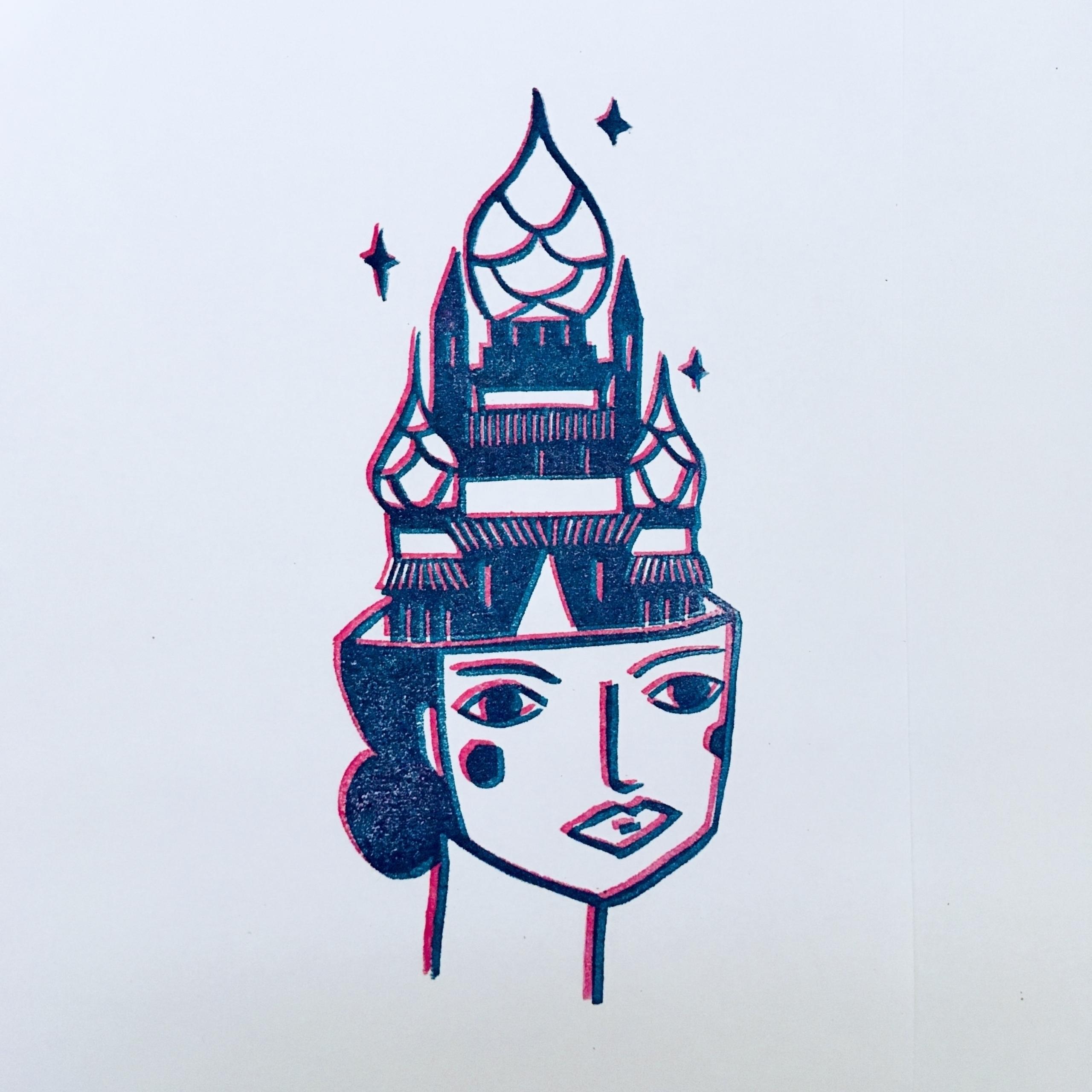 castle, studiomalu, linocut, print - studiomalu | ello