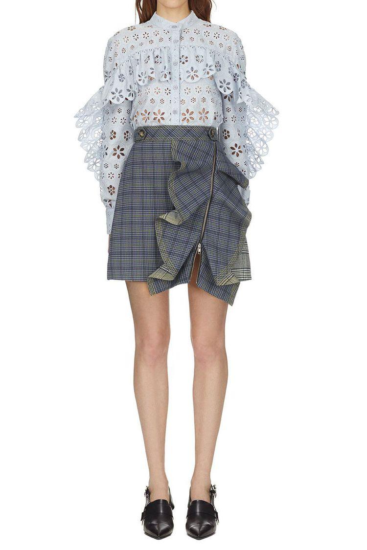 Portrait Flounced Check Skirt - lilygogo   ello