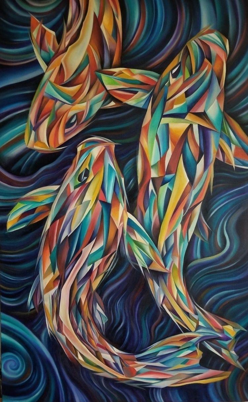 cubist koi. oil canvas 30×48 - scottieford | ello