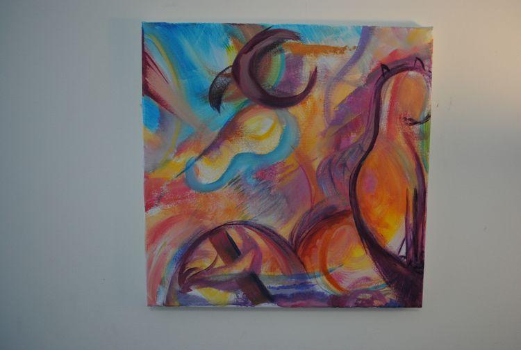 Acrylic canvas, 12 12 - abstract - maggiesawyer1 | ello