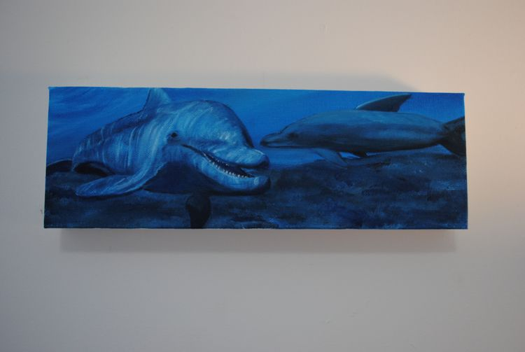 Acrylic canvas, 4 12 - dolphins - maggiesawyer1 | ello