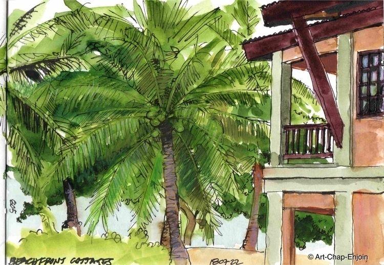 805 - Beachfront cottages sketc - artchapenjoin | ello