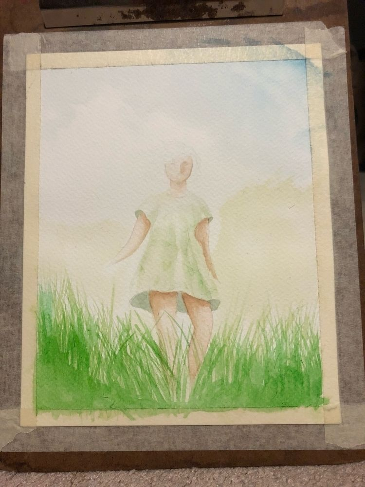 Kind messed - watercolor, girl, sun - izzyvp | ello