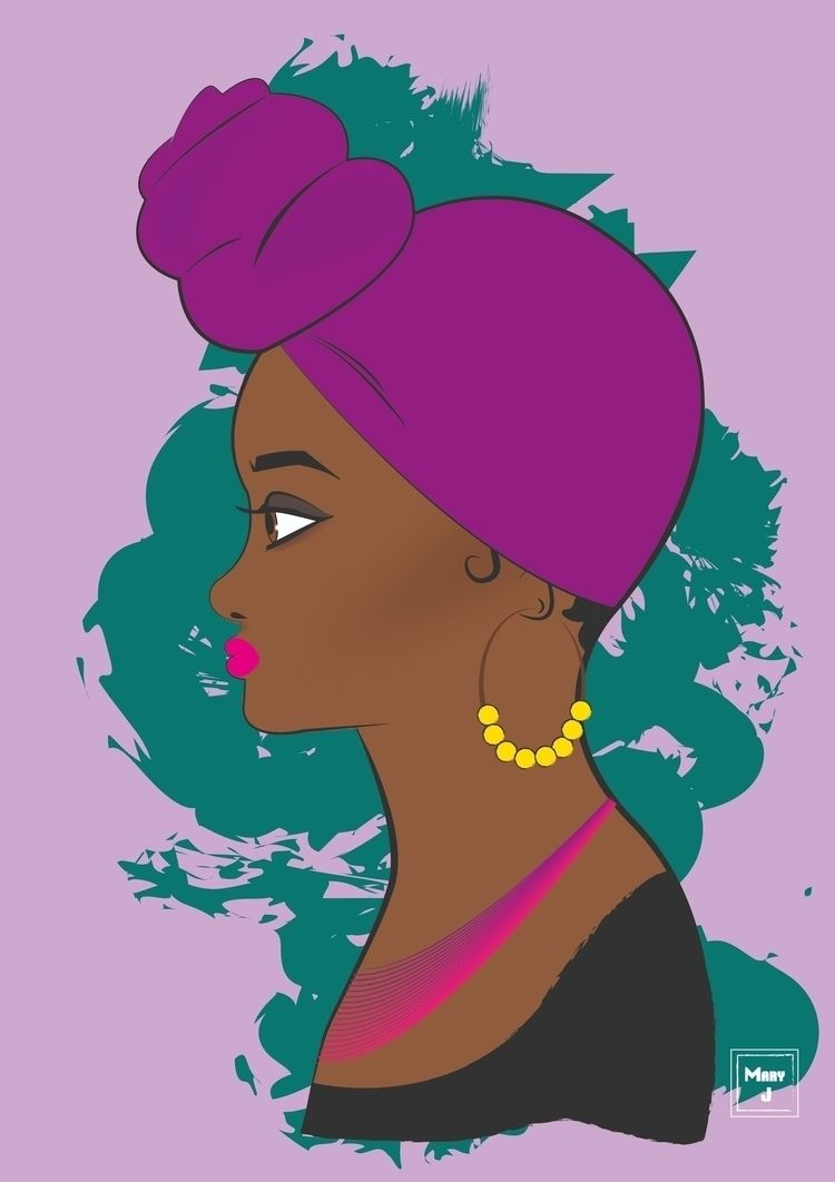 illustration, woman, headwrap - mary-j | ello